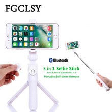 FGCLSY Universal 3 in 1 Bluetooth Selfie Stick For iphone 8 7 6S plus Mini Tripod Pau Palo Phone Selfie Stick Extendable Monopod