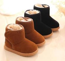 5204A детские зимние ботинки для маленьких для мальчиков и девочек зимние ботинки модные теплые плюшевые внутри для малышей сапоги обувь малыша