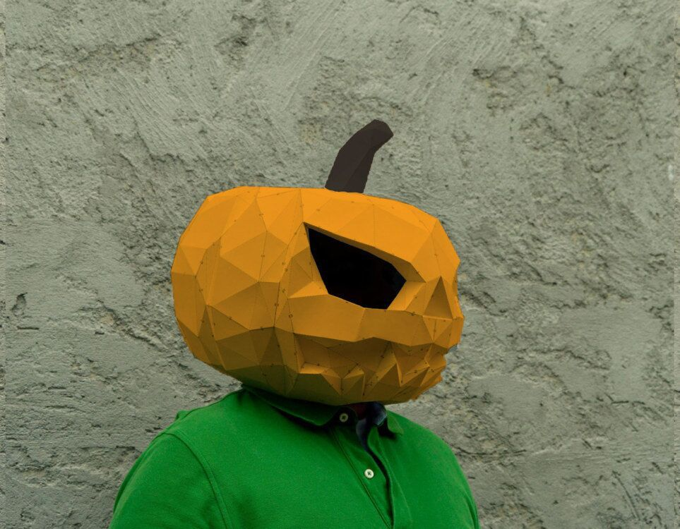 Halloween Pumpkin DIY Animal Mask Cosplay Costume  Adult Children Cardboard Breathable Halloween Ricky Funny Masks