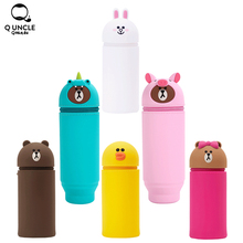 3D Cartoon Silicone Pen Bag Makeup Brush Holder Organizer Tool Animal Design Cosmetic Brushes Container Brush Pen Holder