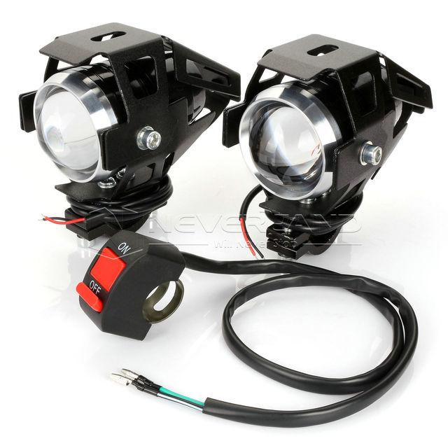 2 unids u5 motocicleta led headlight 125 w 3000lm impermeable conducción spot luz antiniebla cabeza interruptor de la luz moto accesorios 12 v 6000 k d25