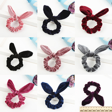 Hot 2018 New flannel cute women rabbit ears hair ring kids bow head rope accessories