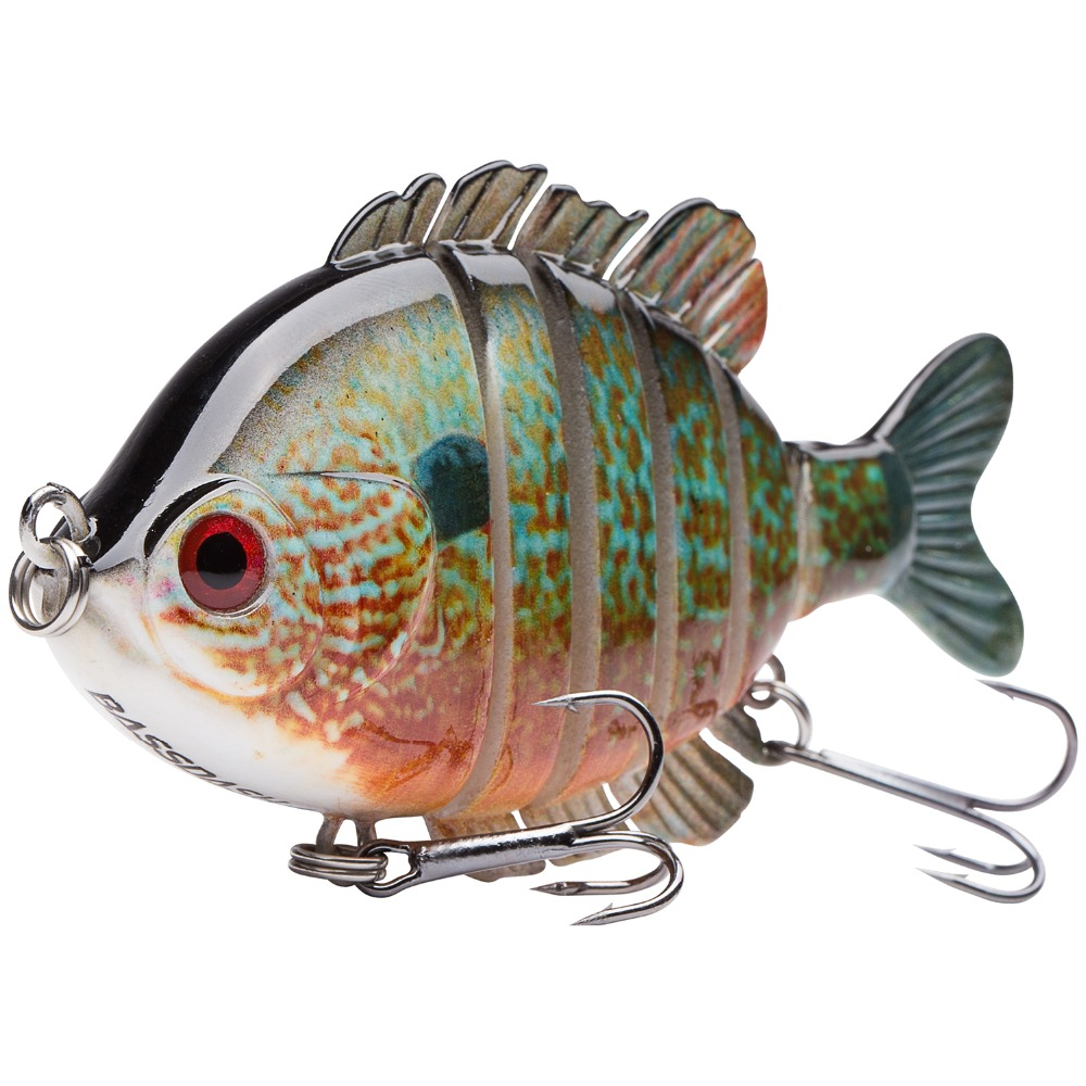 Bassdash SwimPanfish Multi Snodato Panfish Bluegill Swimbaits Topwater Duro Basso di Pesca Manovella Richiamo 24g/8.8 cm, 4 colori