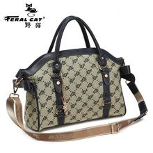 FERAL CAT High Quality Cotton Fabric 2017 New Tote Famous Brands Women's Luggage Plaid Handbags