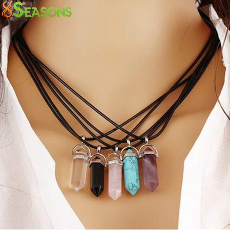 8SEASONS Created Fashion Multi Color Quartz Chakra Necklacess