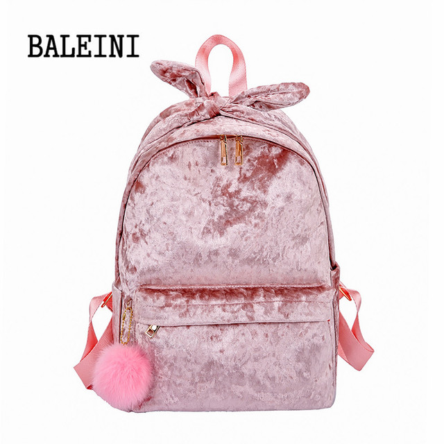 Pink Hairball Velvet Women Backpack Large Capacity Shoulder School Bags For  Teenage Girls Female Student Bagpack b9fedcead25fd