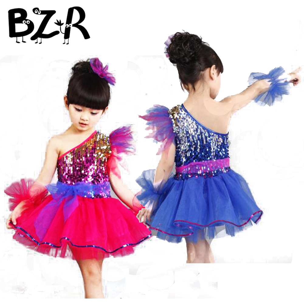 Bazzery Fashion Modern Dance Skirt Sequined Veil Girls Princess Tutus Stage Performing Dance Wear Costume Latin Dresses