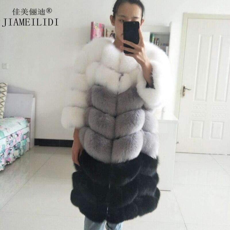Dámská pravá liška kožich dlouhá sekce teplá zimní dáma přírodní kožešinová bunda 3 barevné kombinace kožešinové svrchní oděvy