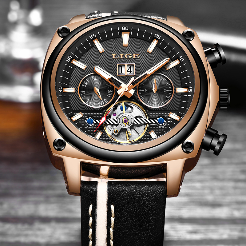 2019 LIGE Men Watch Mechanical Tourbillon Luxury Fashion Brand Leather Man Sport Watches Mens Automatic Watch Relogio Masculino2019 LIGE Men Watch Mechanical Tourbillon Luxury Fashion Brand Leather Man Sport Watches Mens Automatic Watch Relogio Masculino