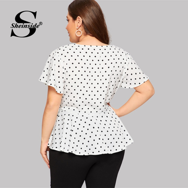 Sheinside Plus Size White Elegant Polka Dot Print Top Women 2019 Summer V Neck Knot Front Blouse Ladies Flared Hem Trim Tops 2