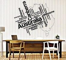Autoadesivo della parete Della Decalcomania Del Vinile In Australia mappa e la terraferma città del vinile autoadesivi di arte soggiorno camera da letto home decor 2DT12