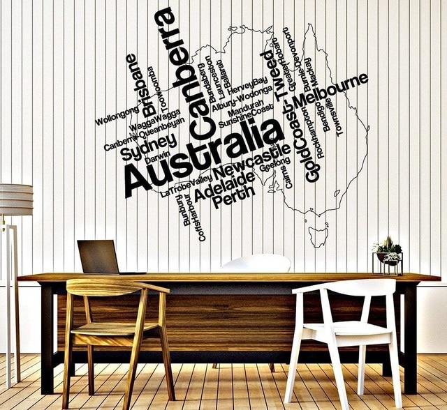 Pegatina de vinilo para pared Mapa de Australia y ciudad continental, pegatinas artísticas para sala de estar, dormitorio, decoración del hogar 2DT12