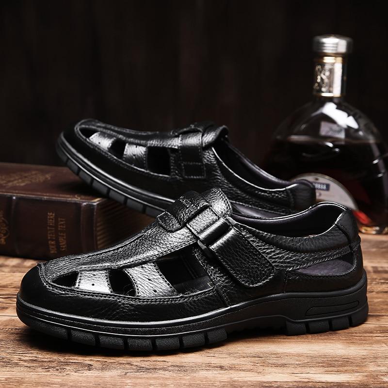 2019 Men 39 s sandals summer casual shoes genuine leather beech sandal man classic brown black shoe male breathable sandals for men in Men 39 s Sandals from Shoes