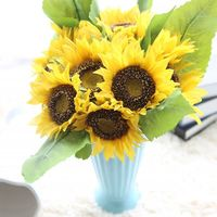 Sztuczny Kwiat Słońce 1 zestaw = 7 głowice + 4 leafs Jedwabiu Rzeczywistym Dotykowy Big Size Daisy Dekoracyjne Stroną Kwiaty dla Domu Biura Ogród