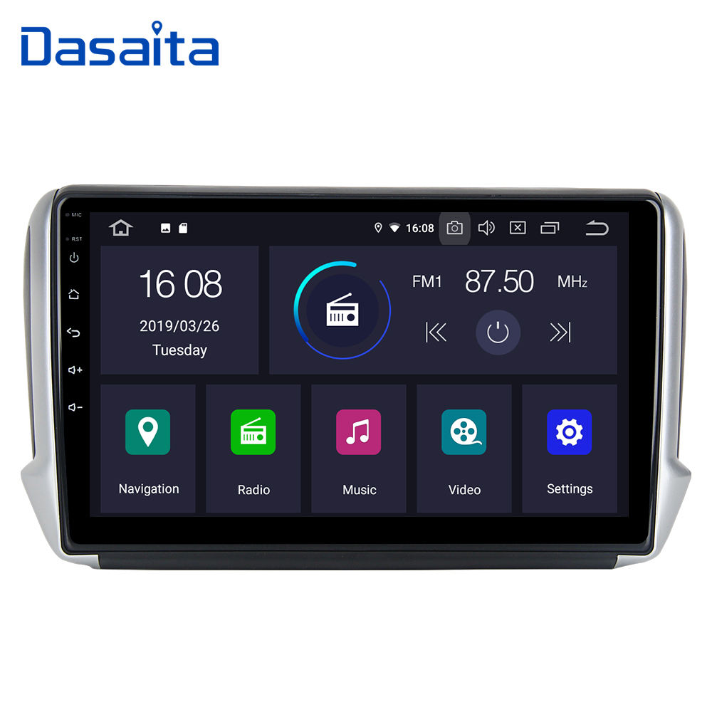 Android 9.0 Car TDA7850 for <font><b>Peugeot</b></font> 2008 <font><b>208</b></font> 2012 2013 2014 2015 2016 2017 GPS 16G ROM <font><b>Autoradio</b></font> 1 Din 10.2