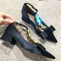 Fashion Buckle T-Strap Valentine Shoes Pointed Toe Rhinestone Women Black Sexy Square High Heels Wedding Dress Shoes Woman Pumps