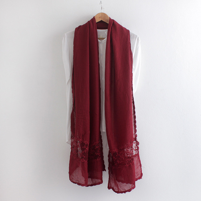 2016 Embroidered Lace Pure Color Scarf Spring and Autumn thin cotton wild shawl