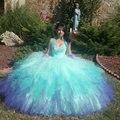 Colorido Quinceanera vestido sem alças Tulle Ruffles doce 16 vestidos frisado lantejoulas Quinceanera vestido Corset inchado vestidos de festa