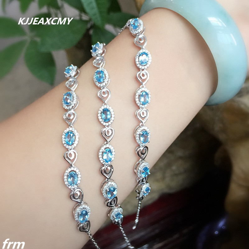 KJJEAXCMY Fine jewelry Natural blue topaz Stone Bracelet 925 Sapphire Bracelet wholesale wholesale Yinhai wholesale