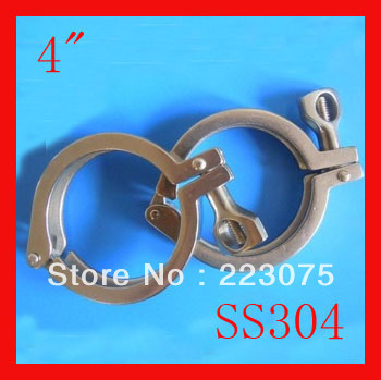 """New arrival 4"""" Single SS304  sanitary Triclamp stainless steel Heavy Duty Clamp for ferrule Wing Nut 5pcs/lot"""