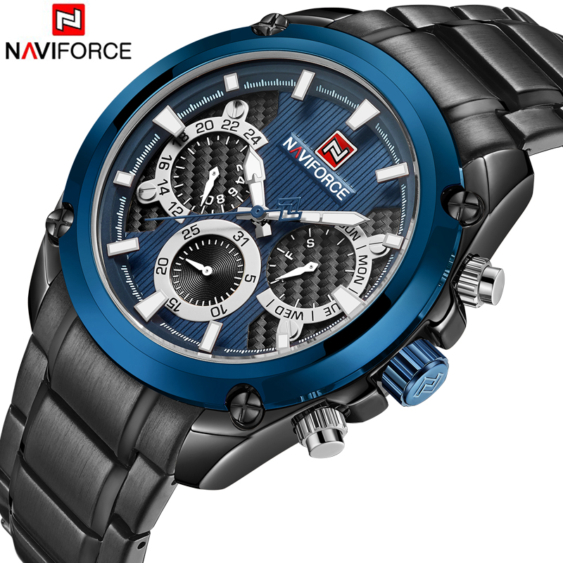 <font><b>NAVIFORCE</b></font> Top Brand Luxury Men Watches Blue Waterproof Date Week Quartz Watch Man Full Steel Sport Wrist Watch Men Clock Male image