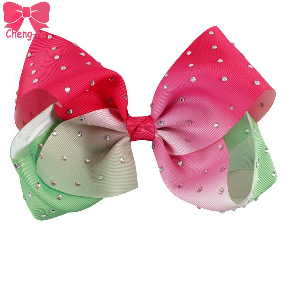 3pcs/lot 7 Big Grosgrain Ribbon Small Watermelon Rhinestone Bestie Hair Bow With Clip For Gilr Kids Diamond Hair Accessories