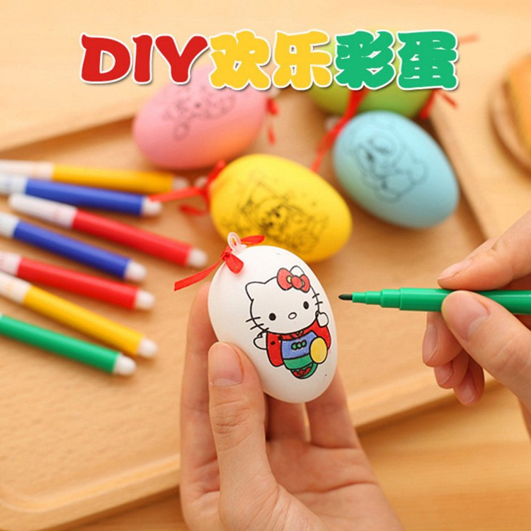 QWOK 5 Pcs Colorful Painting Children Creative Handmade DIY Easter Egg Doodle Set Tool Simulation Egg Children Educational Toy
