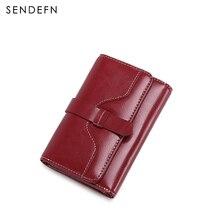 Sendefn mode vintage frauen geldbörsen kurz design split leder trifold geldbörse brieftasche mit reißverschluss münzfach