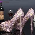 2016 новинка платформа туфли на высоком каблуке розовый горный хрусталь свадебные туфли на каблуках великолепный кристалл свадебная церемония туфли на высоком каблуке ну вечеринку выпускного вечера обувь