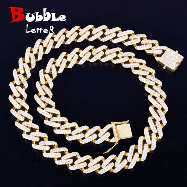 $ US $54.22 14mm Miami Cuban Choker Square Link Necklace Gold Color Iced Out Cubic Zirconia Rock Hip hop Style Men's Jewelry