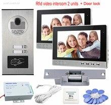 Video Door Phone Doorbell Intercom 10″ Color Monitors For 2 Apartment  Intercom Rfid 700TVL CCD Camera+ Electric Strike Lock