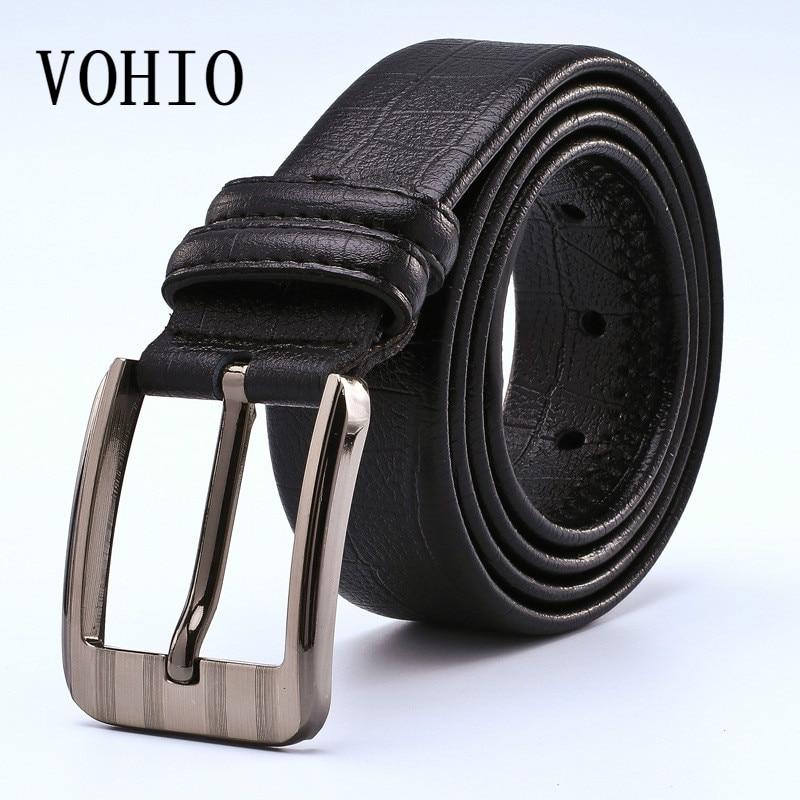 VOHIO Fashion Leather Belt Corset Mens PU Black Brown Belt Cinturon Cuero Hombre Buckle Belt Width 3.5cm Mens Belt for Jeans