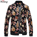 HCXY brand clothing 2016 new spring and autumn Men 's Floral Printing Jacket full cotton fabric zipper coat male plus size M-6XL