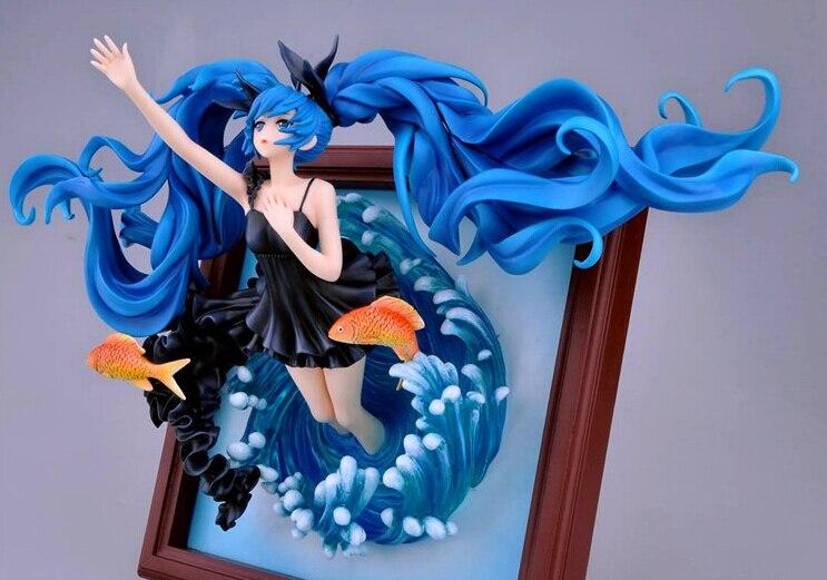 ФОТО 1pcs Anime character Photo frame blue water girl style Hatsune Miku action pvc figure toy tall 23cm.