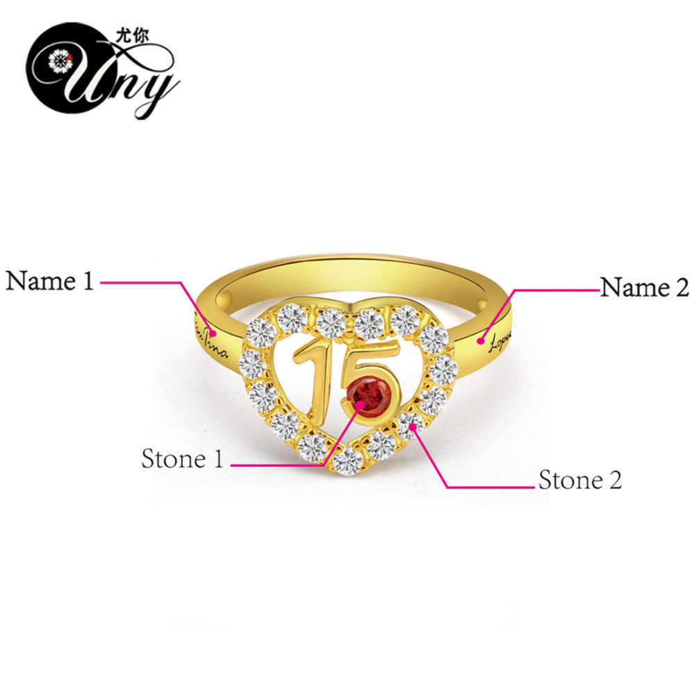 Uny кольцо серебро 925 персонализированные кристалл свадебные Юбилей подарки камень Кольца пользовательские выгравированы кольцо обещание DIY любовь Кольца