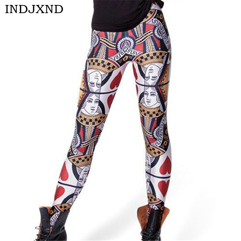 INDJXND Playing Cards Digital Printed Women   Leggings   Personality Gothic Interest Fitness Shape Slim Casual Elastic Pants K144