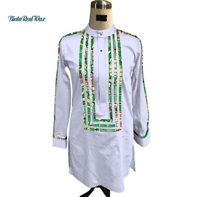 5c152c8161 Custom Mens African Shirt Clothing Bazin Riche Patchwork Print Top Robe 100%  Cotton Dashiki Traditional African Clothing WYN91