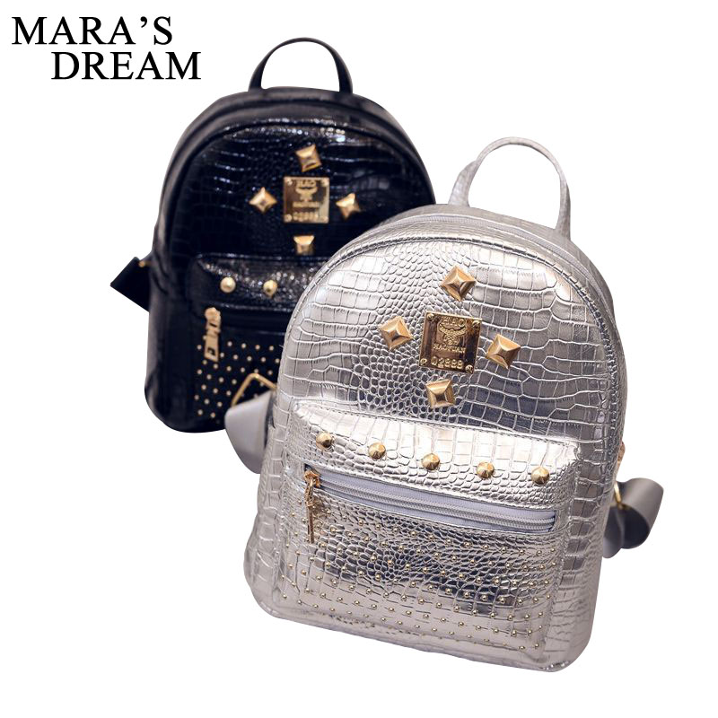 Mara's Dream Women PU Leather Backpack Rivet Stud Punk Style Ladies Girl Casual School Backpacks Bolsa Feminina Shoulder Bags punk women s satchel with rivet and pu leather design