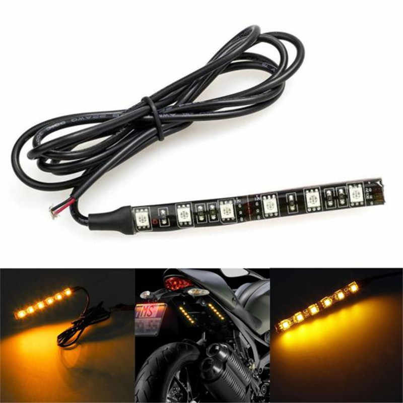 HOT LED Strip Lamp Mini Strip Black led Motorcycle Turn signal Universal Amber lights Strip 6LED