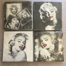 20 servilleta retro papel blanco y negro Marilyn Monroe decoupage boda cumpleaños fiesta servilletas hogar almuerzo Decoración