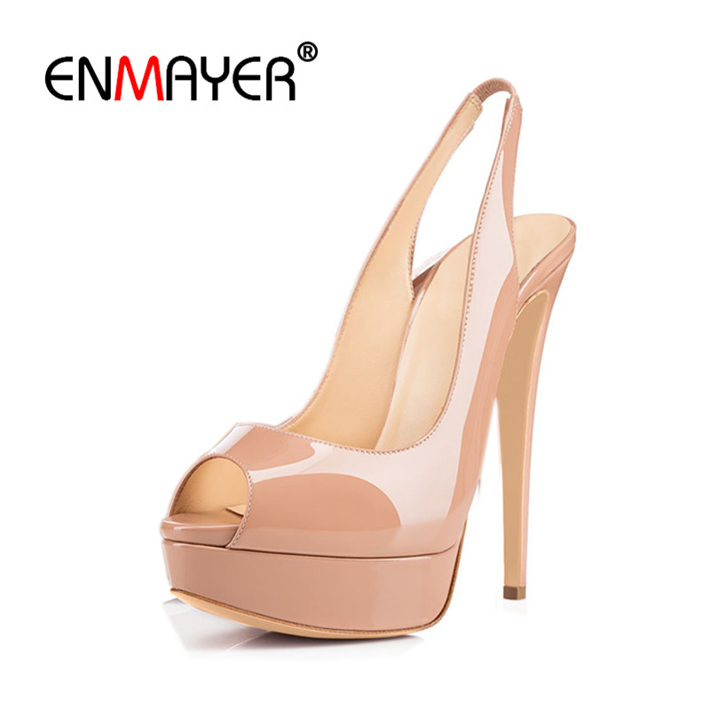 ENMAYER Woman Shoes 2017 Summer Supper High Heels Pumps Peep Toe Slingbacks Shoes Woman Party Wedding Shoes Plus Size 35-46 cdts 35 45 46 summer zapatos mujer peep toe sandals 15cm thin high heels flowers crystal platform sexy woman shoes wedding pumps