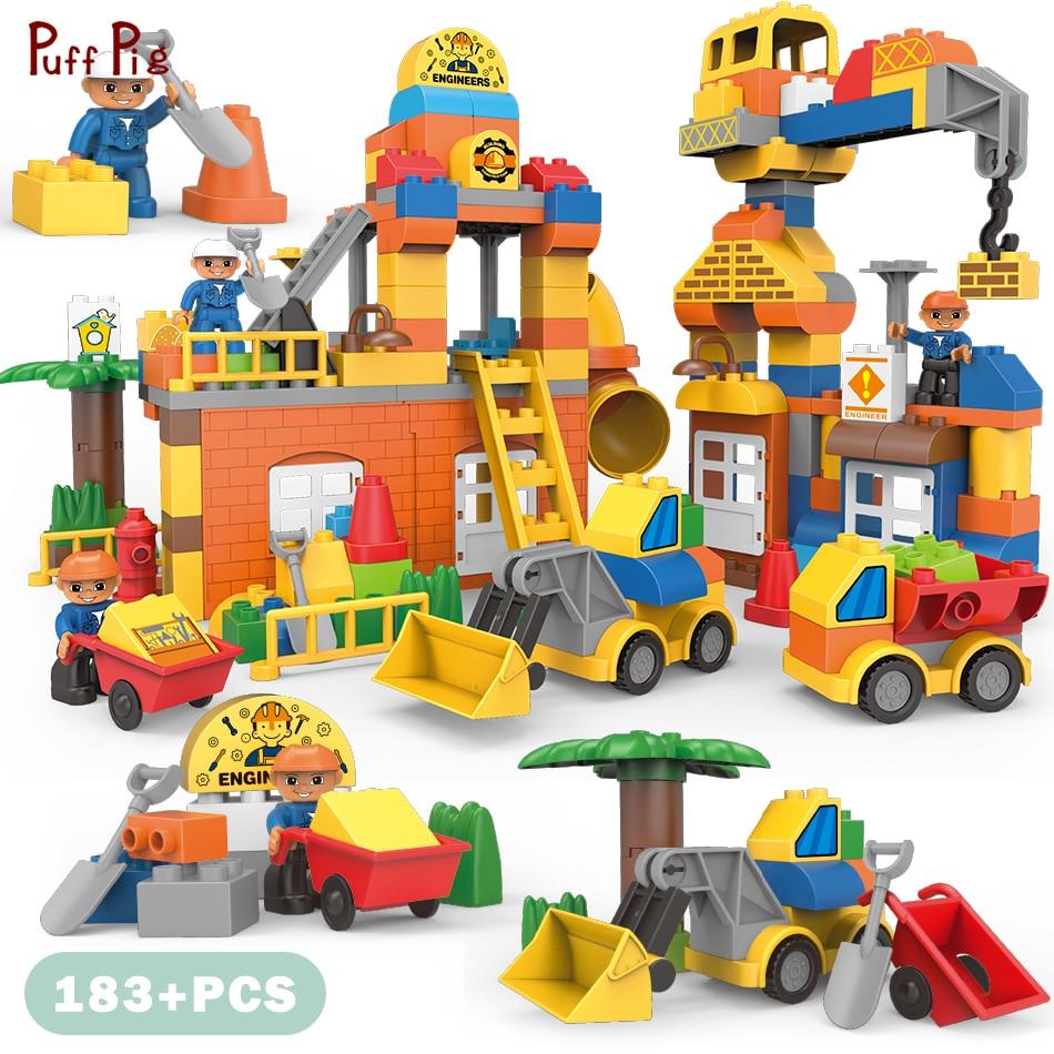 183pcs Big Size City Construction DIY Excavator Vehicles Bulldoze Building Blocks Set Duplo Brick Toys Kids