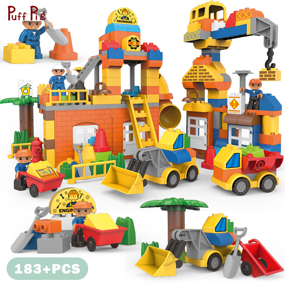 183pcs Big Size City Construction DIY Excavator Vehicles Bulldoze Building Blocks Compatible  Set Duplo Brick Toys Kids