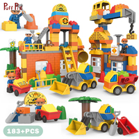 183pcs Big Size City Construction DIY Excavator Vehicles Bulldoze Building Blocks Set Compatible Legoed Duplo Brick Toys For Kid