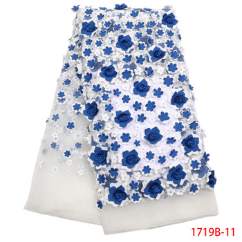 Latest french white tulle lace fabric plenty Blue 3d flowers with Blue stones Nigerian popular 5 Yards tulle lace fabric XZ1719B