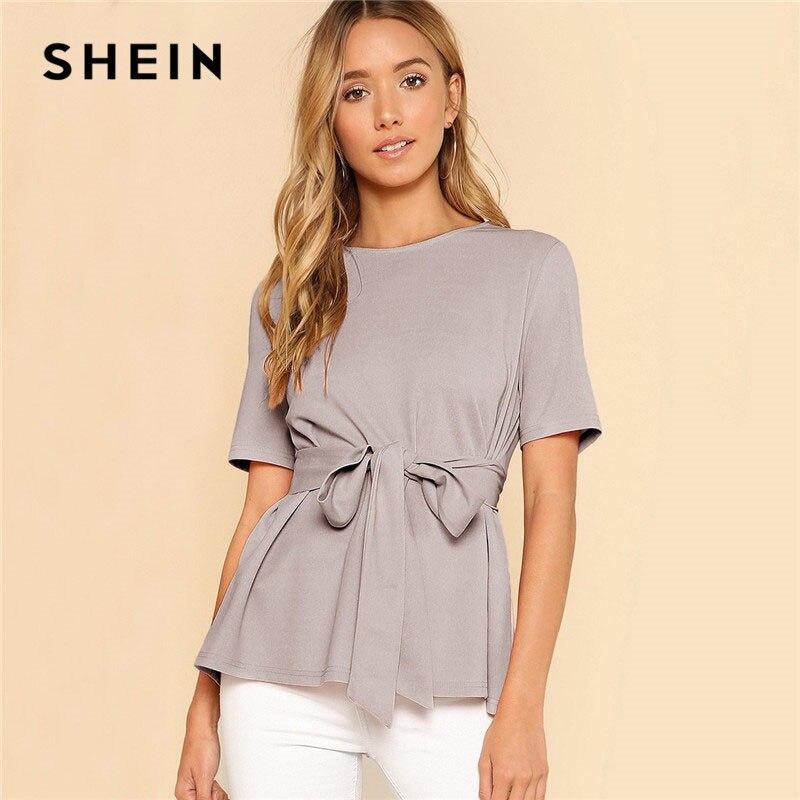 SHEIN Correa auto Keyhole volver sólido FIN DE SEMANA fuera a Jersey de verano de las mujeres blusas y Tops mujer minimalista blusa elegante