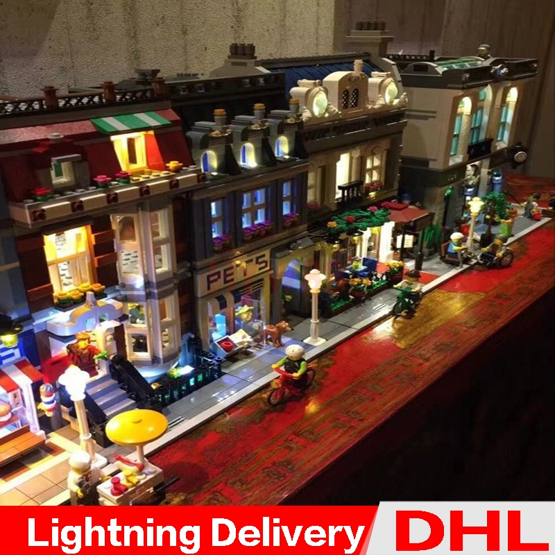 LP 15001 15009  15011 DIY LED Light MOC City Street Model Building Blocks Set Bricks Legoings toys 10246 10251 10243 10218LP 15001 15009  15011 DIY LED Light MOC City Street Model Building Blocks Set Bricks Legoings toys 10246 10251 10243 10218
