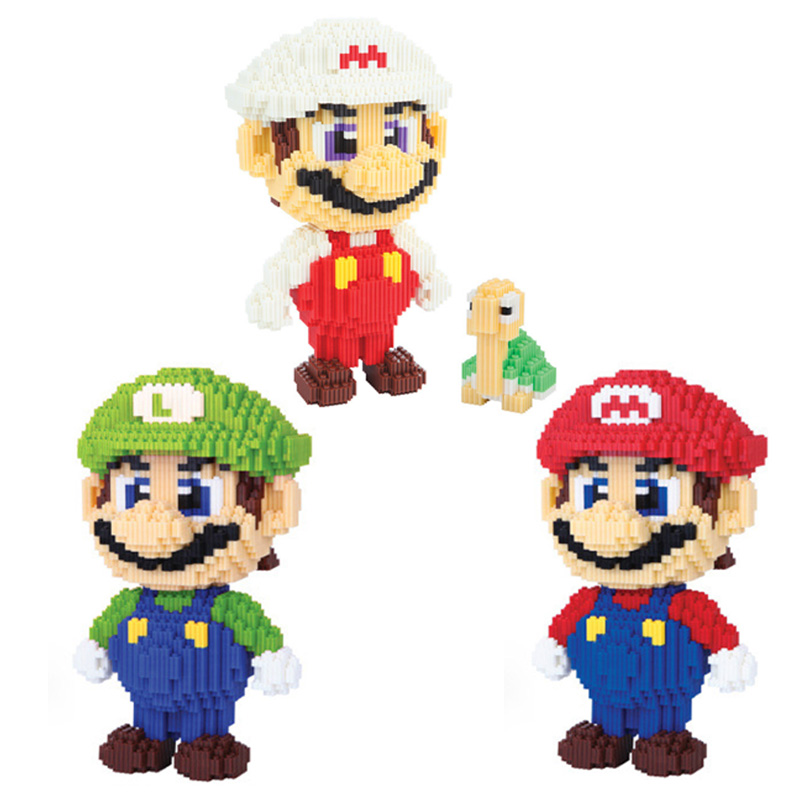 Classic game image micro diamond building block super mario bros Luigi turtle nanoblock 31cm bricks toys for children gifts цена