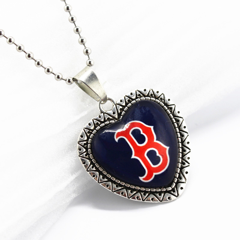 10pcs/lot baseball sports Boston Red Sox dangle charms glass pendant with 45cm beads chainsnecklace jewelry making