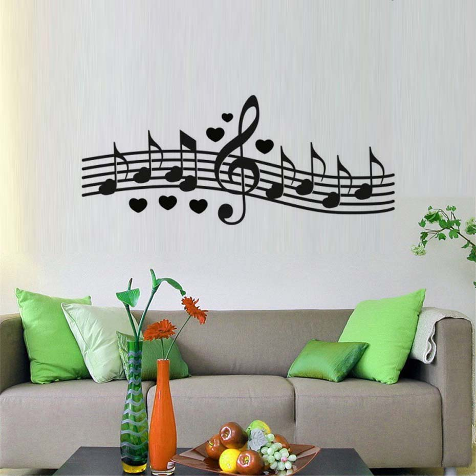 DCTOP Decorative Musical Notes Wall Decoration Composed A Love Song Bedroom Wall Sticker Decals image